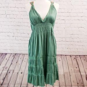 Free People green dress. Floral design. Medium